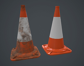 3D asset PVC Road Cone PBR Game Ready