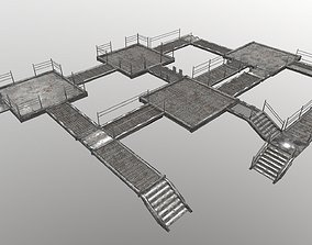 3D asset low-poly Stair Set