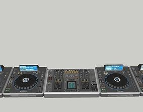 3D model Pionner Decks and mixer