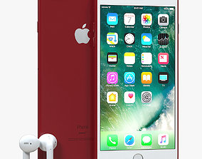 3D iPhone 7 Plus Red with AirPods