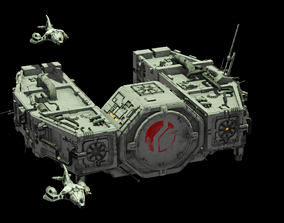 3D Space Freighter with Fighter Escort