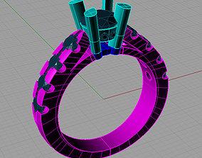 3D print model Solitaire Round diamond Cut Ring Anello 1