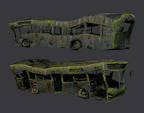 Apocalyptic Damaged Destroyed Vehicle Bus Game 3D model 2