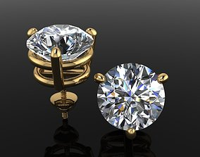 3D printable model 9mm50 3 Prong Solitaire Earring Stud