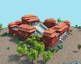 low poly chinese temple 3D model