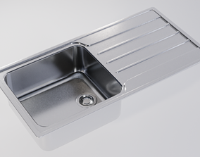 3D asset Kitchen Sink With Drain and Strainer - PBR