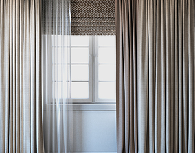 Curtains with Roman curtain and Tulle set 02 3D