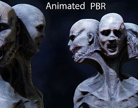 The three faces Monster ANimated Very creepy 3D asset