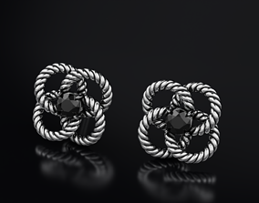 Stylish rope earrings with diamond 3D printable model 3