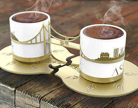 3D model Istanbul Bosphorus Coffee Cups cup