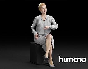 3D model Humano Elegant Business Woman in skirt Sitting 2