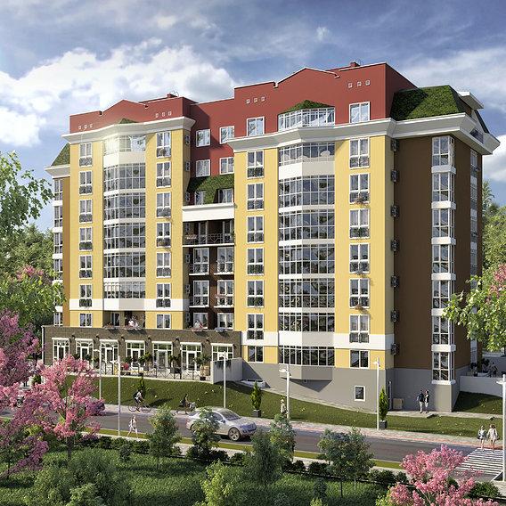 3d render residential complex