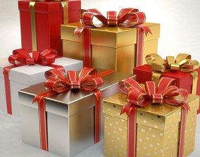 3D model Gift Boxes Set Christmas Presents