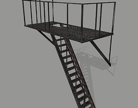Fire Escape 3D asset game-ready