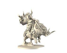 armor dwarf on battle boar 3D printable model