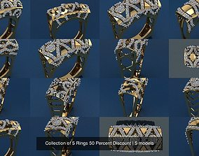 3D wedding-ring Collection of 5 Rings 50 Percent Discount