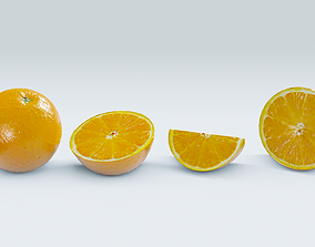 Orange 3D asset low-poly PBR