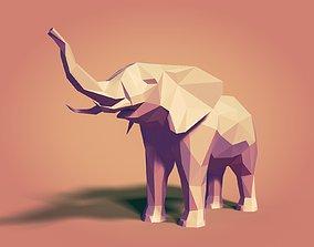 3D model VR / AR ready animal Low Poly Elephant