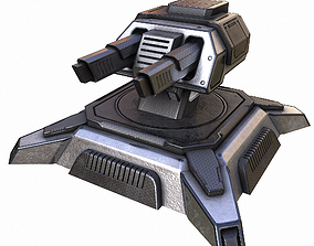 3D asset low-poly Sci-fi Turret