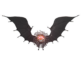 3D Black coronavirus with bat wings