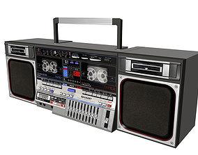 3D model Retro Boom Box Ghetto Blaster amplifier