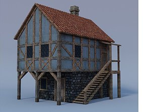 3D asset low-poly architecture medieval house