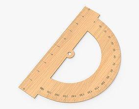 3D Half-circle wooden protractor 01
