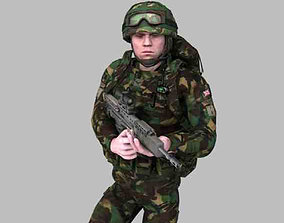 3D model Royal Marine Woodland Rigged Soldier