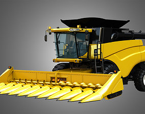 NH - CR 9070 Combine Harvester - With Corn 3D model 1