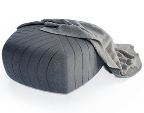 3D Grey Pouffe and Blanket