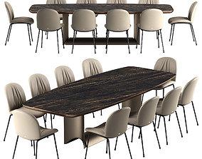 3D model Cattelan italia Tina chair Dragon table set