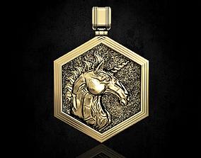 gold 3D print model Unicorn Pendant