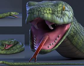 3D model snake green bamboo snake reptile animal boa