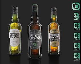 3D model William Lawsons 13 Super Spiced whiskey bottles