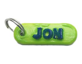 JON Personalized keychain embossed letters 3D print model