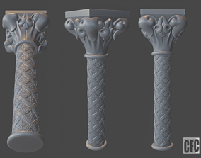 Goth Column - 3d model for CNC - GothColumnCFC06