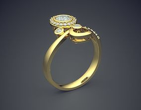 Engagement Ring With Diamonds CAD-3954 3D printable model