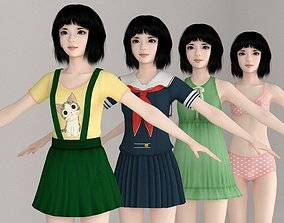 T pose nonrigged model of Kayoko with various outfit 3D