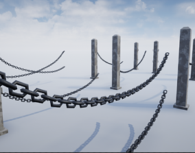 Modular Chained Poles 3D model