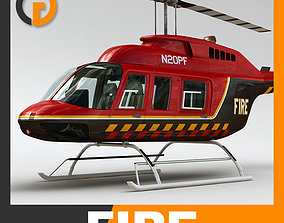 3D model Helicopter Fire Bell 206L with Interior