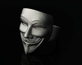 3D printable model Guy Fawkes Mask Silver Ring