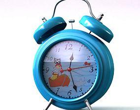 Blue twin bell alarm clock 19 am111 3D