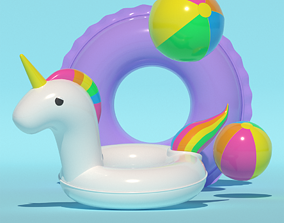 3D model low-poly Inflatable pool set