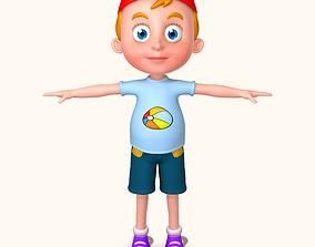 Cartoon boy with hat 3D