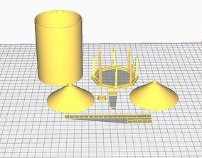 3D print model hopper bottom grain bin