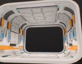 3D model Low poly sci fi space station corridor pattern