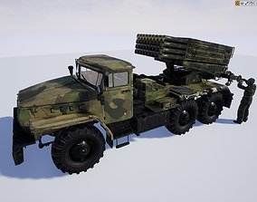 Soviet BM 21 Grad Rocket and Soldier 3D model