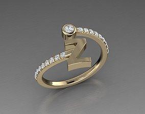 3D printable model Jewelry Alphabet Diamond Ring Z