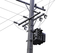 Pole with trafo and devices 3D