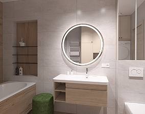 Spacious bathroom with wood imitation tile 3D model